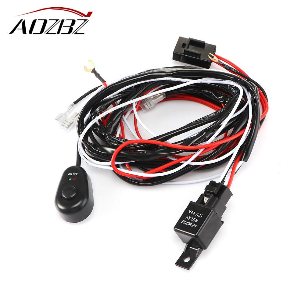 Aozbz Universal 2 Lead Led Light Bar Wiring Harness Kit With Fuse Lightbar Relay On Off