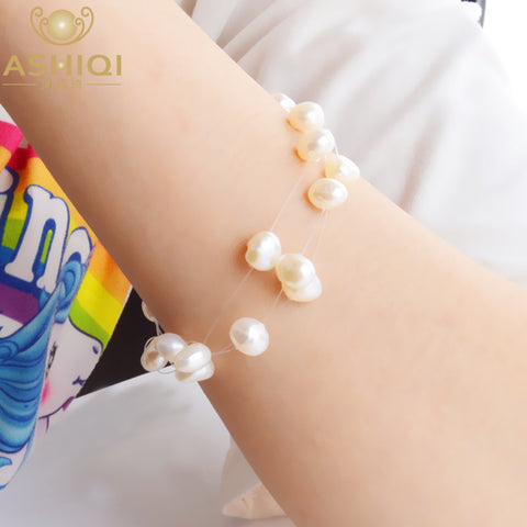 ASHIQI Bohemia White Natural Freshwater Pearl Bracelets with 3 row Transparent Fishing Line Invisible Chain Bracelet women gift