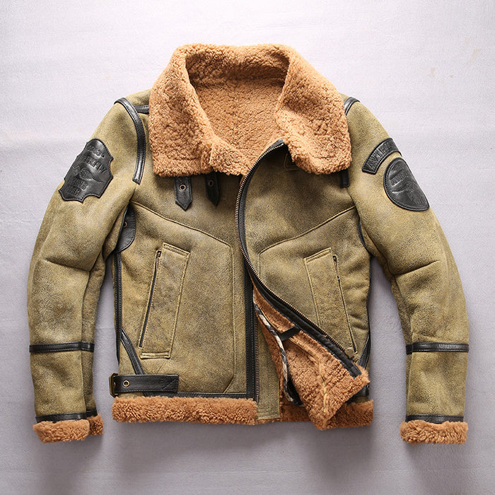 bb4c6dcec6b AVIREX FLY Jacket Air Force B3 Fur One Fur Coat Sheepskin Genuine Leather  Jacket Men Motorcycle