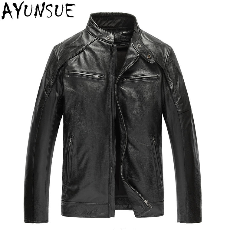 AYUNSUE Black Mens Jackets Genuine Leather Biker Men Jacket Jaqueta Motoqueiro Stand Collar Cow Leather Jacket Casual Coat WXF24