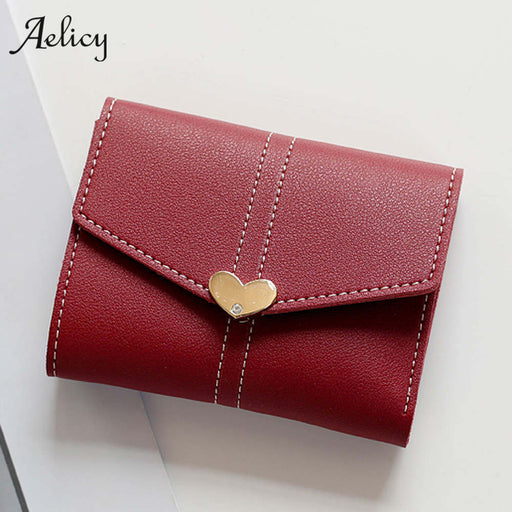 Aelicy Wallet Female Heart Shaped Lady Short Women Wallets Mini Money Purses Fold PU Leather Bags Female Coin Purse Card Holder