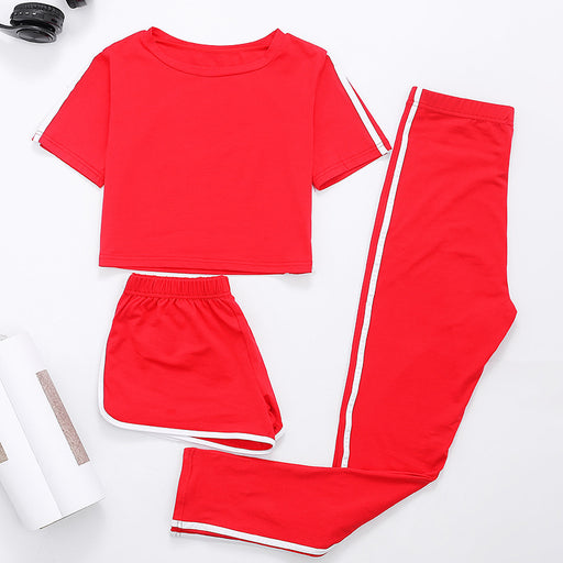 AmberHeard Summer Women Sporting 3 Suit Sexy Crop Top +Shorts +Pant False Two Piece Women Set Tracksuit Outfit For Women Clothes