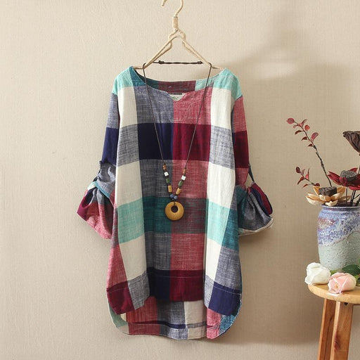 Autumn Loose Women Cotton And Linen Blouse Roll Up Long Sleeve Irregular Tops Femme Casual Plaid Shirt Female Vintage Blusas