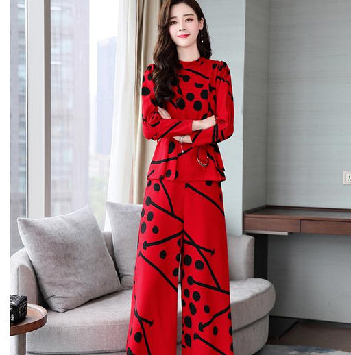 Autumn Polka Dot 2 Piece Set Women Printed Wide Leg Trousers Suit Set Office Lady Palazzo Pants Year-old Female Costume