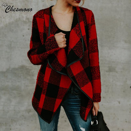 Autumn Winter Cardigan Woolen Coat Women Red Khaki Black White Plaid Coat Long Sleeve Female Overcoat Ladies Jacket Outerwear