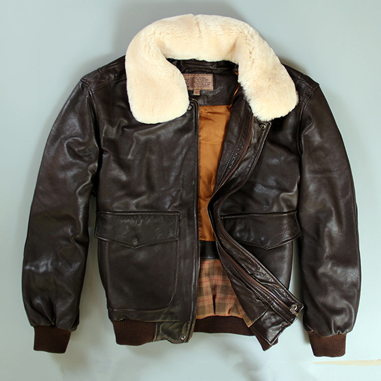 Avirex fly air force flight jacket fur collar genuine leather jacket men winter dark brown sheepskin coat pilot bomber jacket