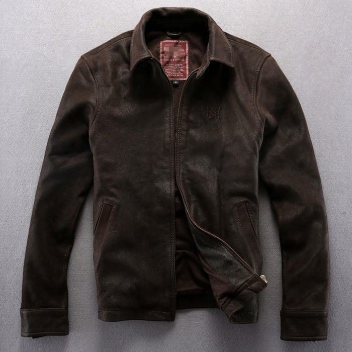 Avirex Fly Solid Brown Genuine Leather Jacket Men Turn Down Collar
