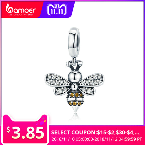 BAMOER 925 Sterling Silver Crystal Bee Luminous CZ Crystal Charm fit Women Charm Bracelets DIY Jewelry Girlfriend Gift SCC821