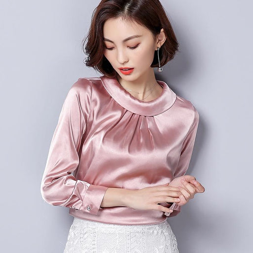 BIBOYAMALL Women Blouses Spring Casual Silk Blouse Loose Long Sleeve OL Work Wear Blusas Feminina Tops Shirts Plus Size XXXL