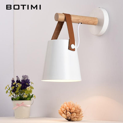 BOTIMI Nordic Wood Wall Lamps Modern Wall Mounted Luminaire Iron Wall Sconce For Bedside Light Bedroom Lighting fixtures