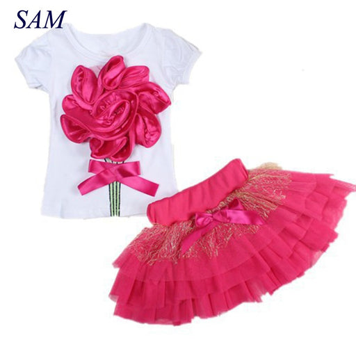 Baby Girls Clothing Set 2017 Summer New Big Rose Flower Short Sleeve Cotton T-shirts+short Skirts Kids Clothes Suit