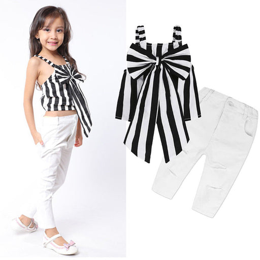 Baby Girls Clothing Suits Striped Sleeveless Big Bow Tops+ White Hole Jeans Pants 2pcs Bebe Girls Clothes Sets