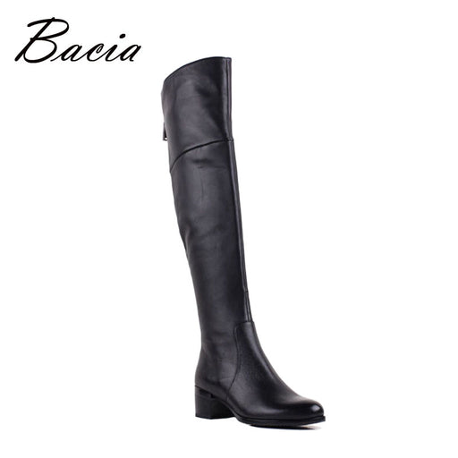 Bacia Brand Women Boots Autumn Winter Leather Boots Medium Heel Sheepskin Shoes Soft Genuine Boots Short Plush Shoes VB079