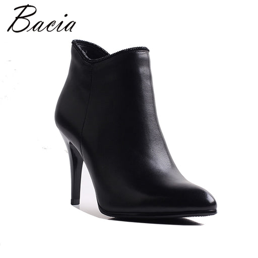 Bacia Sexy Women Boots Genuine Leather Winter High Heels Ankle Boots Shoes Women Fall Ladies Short Boots NEW Zip Big Size MWB007