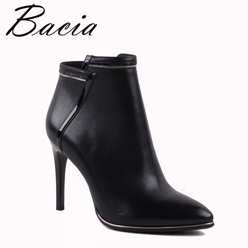 Bacia Sexy Women Boots Genuine Leather Winter High Heels Ankle Boots Shoes Women Fall Ladies Short Boots New Zip Big Size VXA009