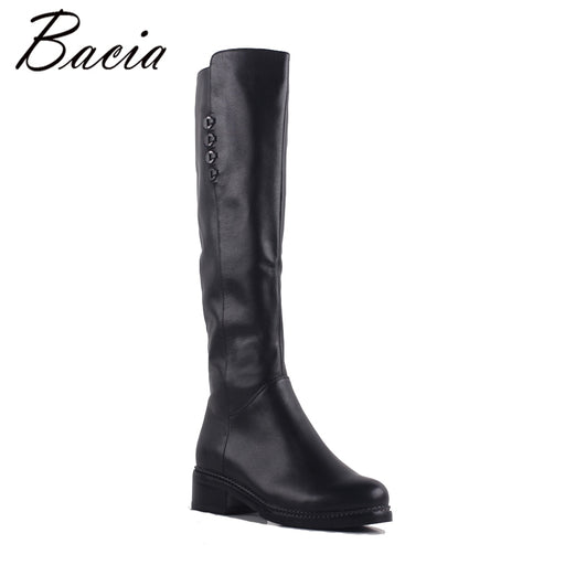 Bacia Square Toe High Boots Genuine Leather Women Boots thick high heel boots Ladies Skinny Fashion Winter Fur Warm Shoes SA075