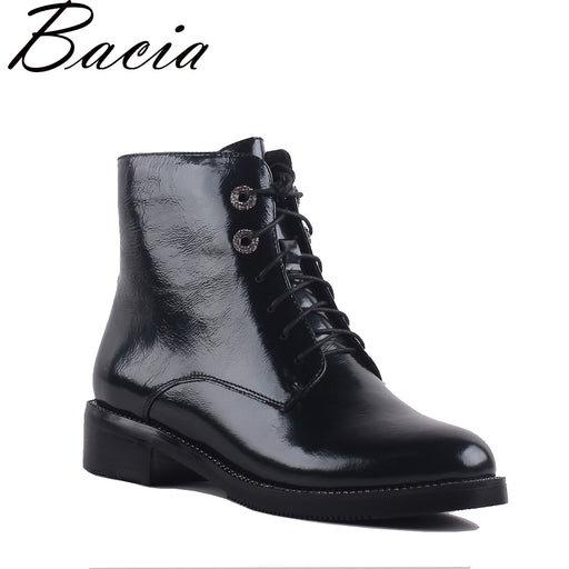 Bacia Women Boots Genuine Leather Boots Female Round Toe Lace Up Woman Casual Shoes Autumn Winter Short Plush Ankle Boots SA069