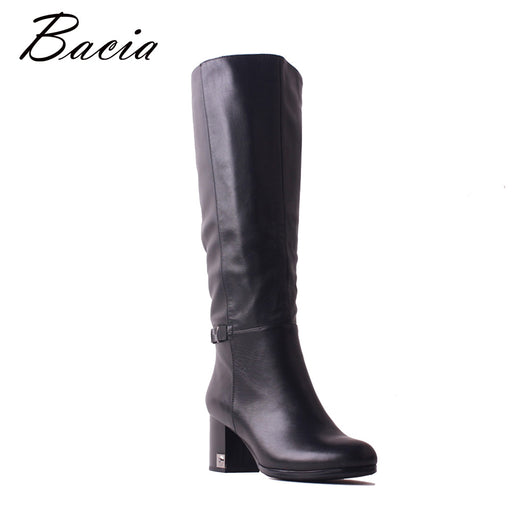 Bacia Women Cow Leather Boot Shoes Short Plush Ladies Mid-Calf 6.5cm Heels Shoes Fashion Elegent Genuine Leather Boots SB095