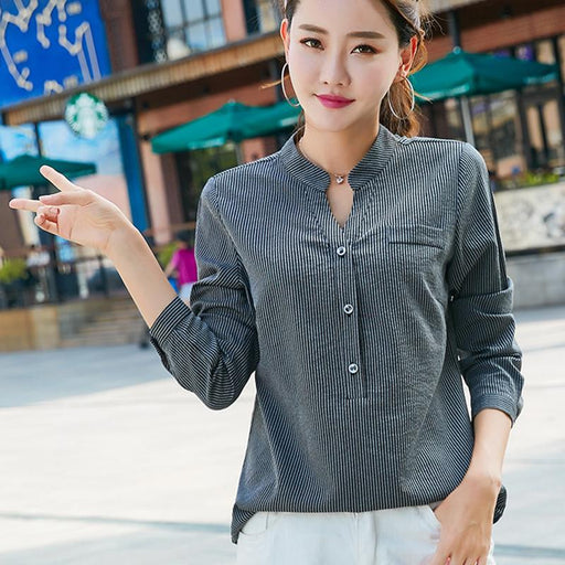 Back Button Striped Shirt Women Blusas Mujer De Moda 2018 Autumn V-Neck Long Sleeve Womens Tops And Blouses Casual Ladies Shirts