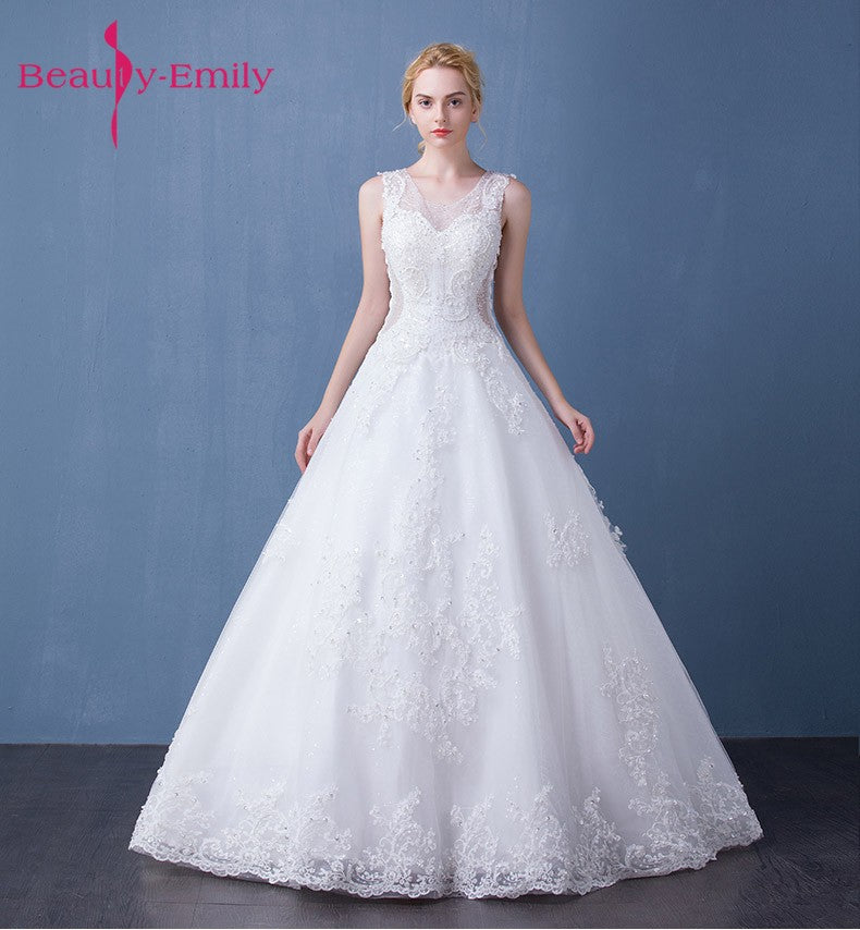 Beauty Emily Long Lace High Quality White Luxury Beads Wedding ...