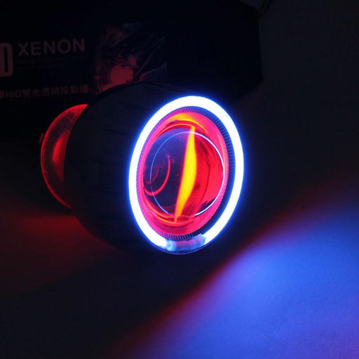 Best Sale!! HID Bi-Xenon Motorcycle Projector Lens Kit H7 H1 H4  Bule Angel Eye Red Devil Eye lighting headlight