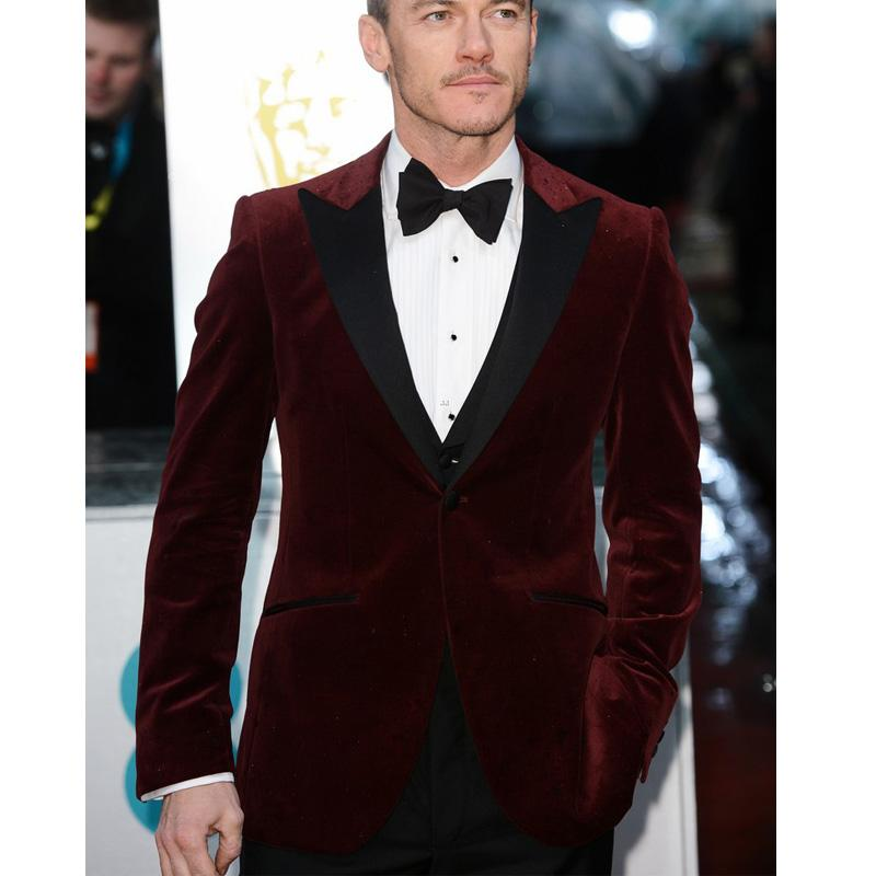 Suits For Wedding.Burgundy Velvet Business Party Men Suits For Wedding 2018 Three Piece Black Peaked Lapel One Button Custom Made Groom Tuxedos