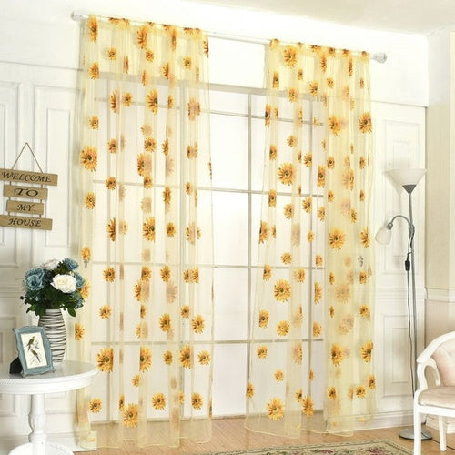 Butterfly Print Sheer Window Panel Curtains Room