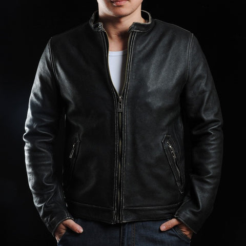 C&C Market.Free Shipping.EMS Top Brand fashion genuine leather jacket.Us cool sportswear jackets,man's big size coat