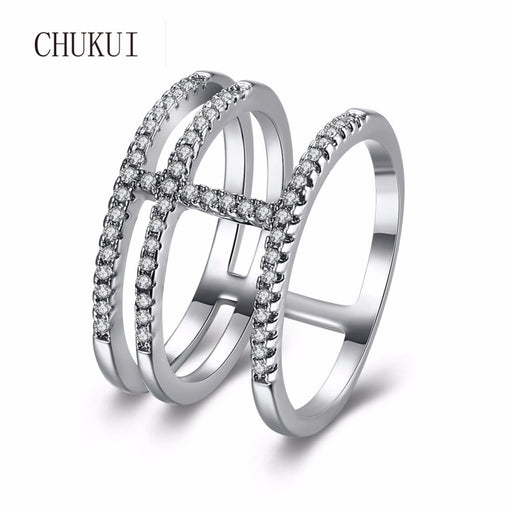CHUKUI Wide CZ Band Ring Silver Engagement Ring for Women Cubic Zirconia Rhinestone Finger Ring Jewelry 2018