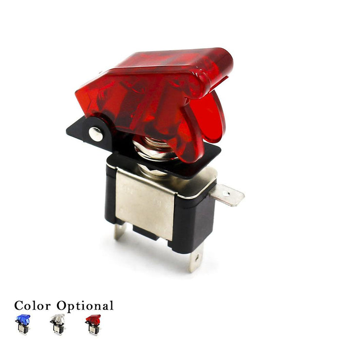 CNSPEED 12V Car Racing On Off Aircraft Type Red LED Toggle Switch Control  Red,White,Blue Color Flip Cover ms100511