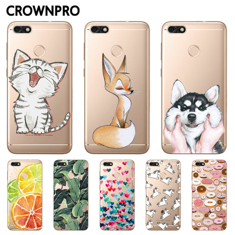 CROWNPRO FOR Huawei P9 Lite Mini Case Silicone Soft Cover FOR Huawei Y6 Pro 2017 Phone Back Cases Enjoy 7 Cute Painted Clear TPU