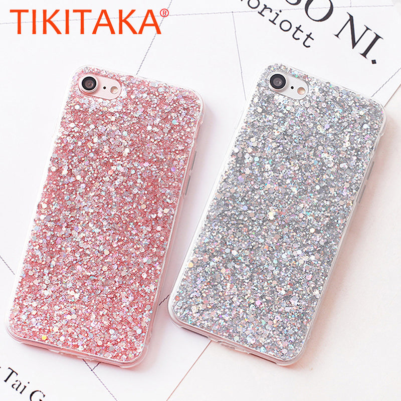 Candy Shining Powder Sequins Phone Cases For iPhone X 8 7 6 6S Plus Case  Soft b80aa7c70782