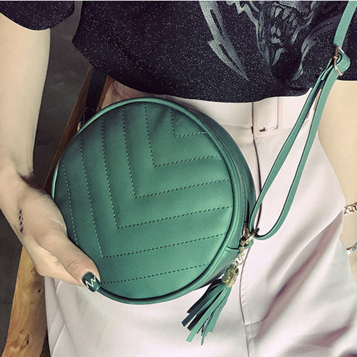 CangToucun Fashion Small Tassel Round Bag Women's Crossbody Messenger Bags Ladies Women Coin Purse Shoulder Bags Female X77