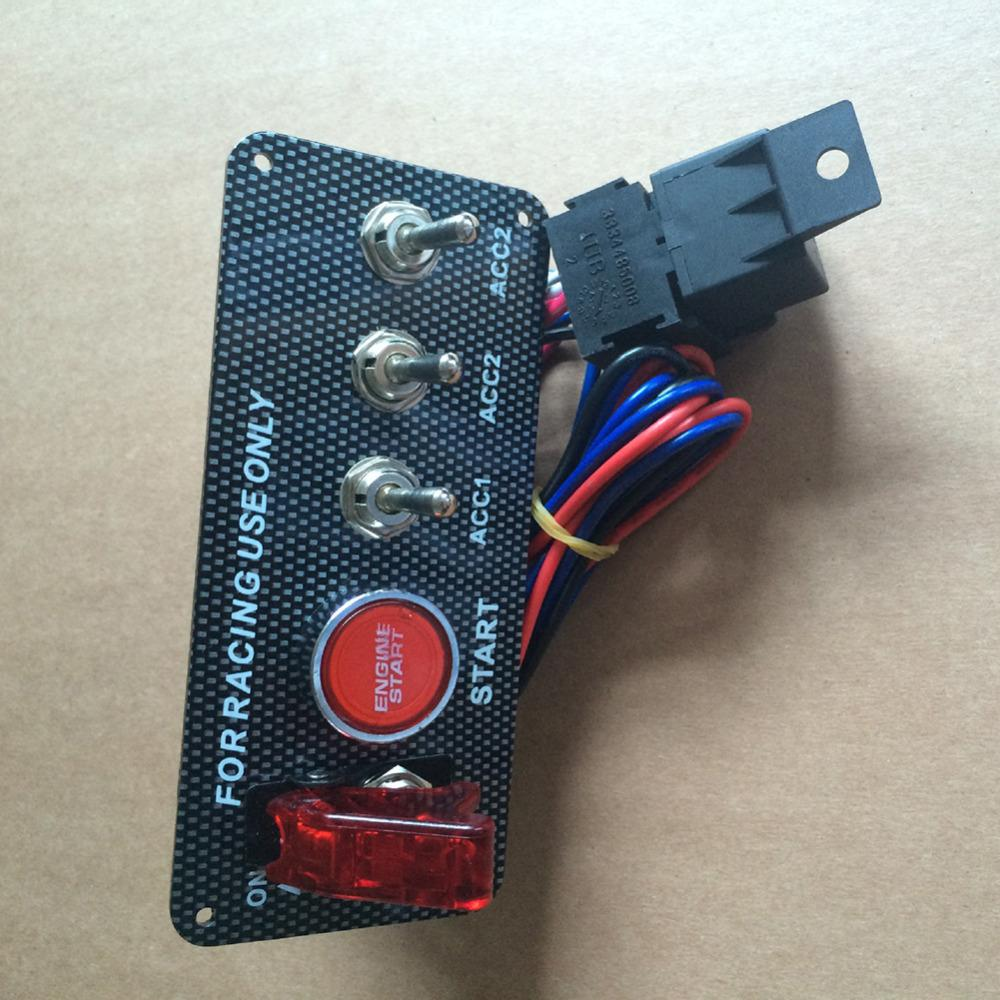Car 5 In 1 Toggle Switches 12v Ignition Switch Panel Engine Start Push Button How To Wire A Carbon Fiber