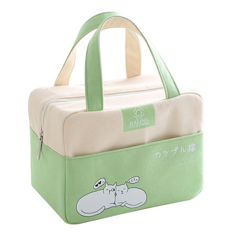 Cartoon Canvas Lunch Bags Food Container Thermal Insulated Cooler Tote Children Portable Bento Picnic Box Accessories Gear Stuff