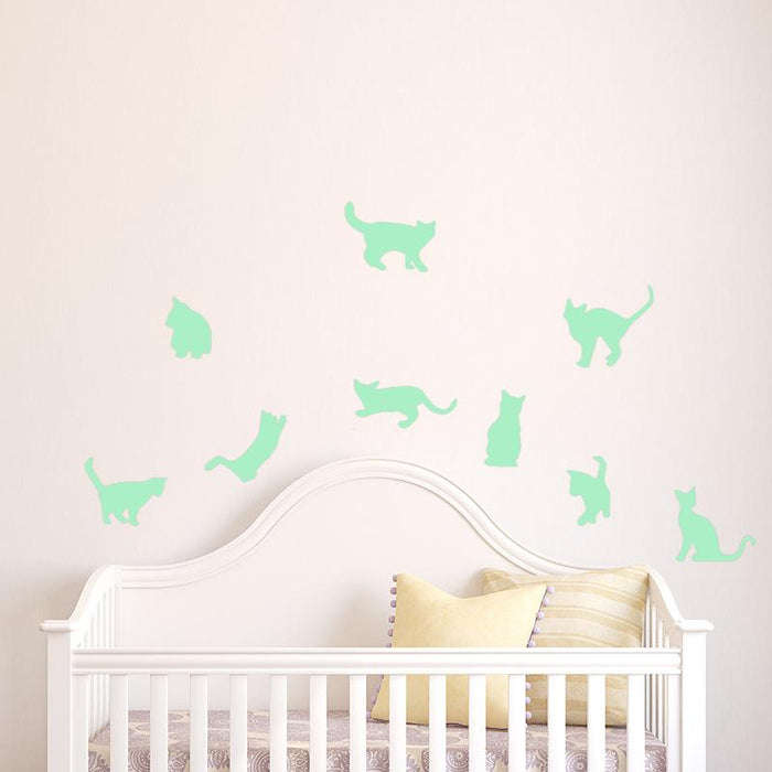 Cartoon Cats Luminous Wall Stickers Glow in the dark Kids Baby Bedroom  Fluorescent Night light Stickers Home Decor Wall Decal