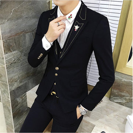 Casual Masculine Blazer Slim Fit Black Print Autumn Men Blazers And Jackets 2018 Turn Turn Down Collar Large Size 3XL A5249