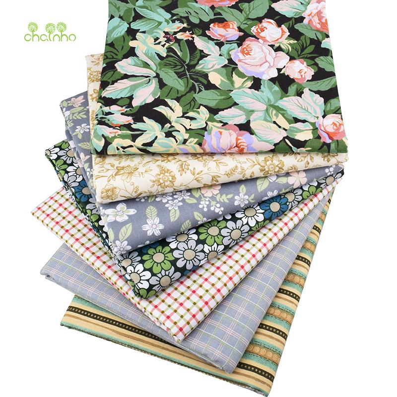 Chainho, 7pcs/lot,New Floral series Twill Cotton Fabric,Patchwork Cloth,DIY Sewing Quilting Fat Quarters Material For Baby&Child