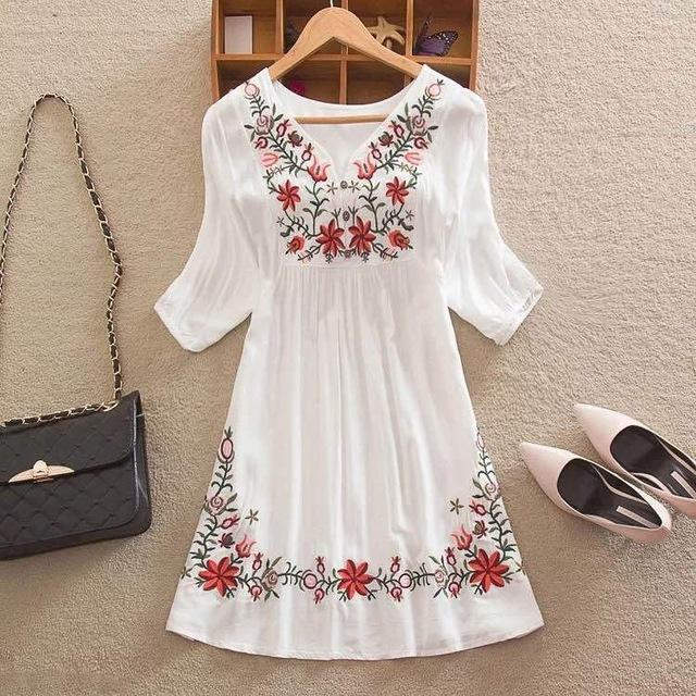 Cheshanf Summer Fashion Women Ethnic Mexican Embroidered Boho Cotton
