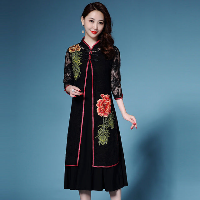 Chinese High End Plus Size Vintage Lace Trench Coat Women Summer 2 ...