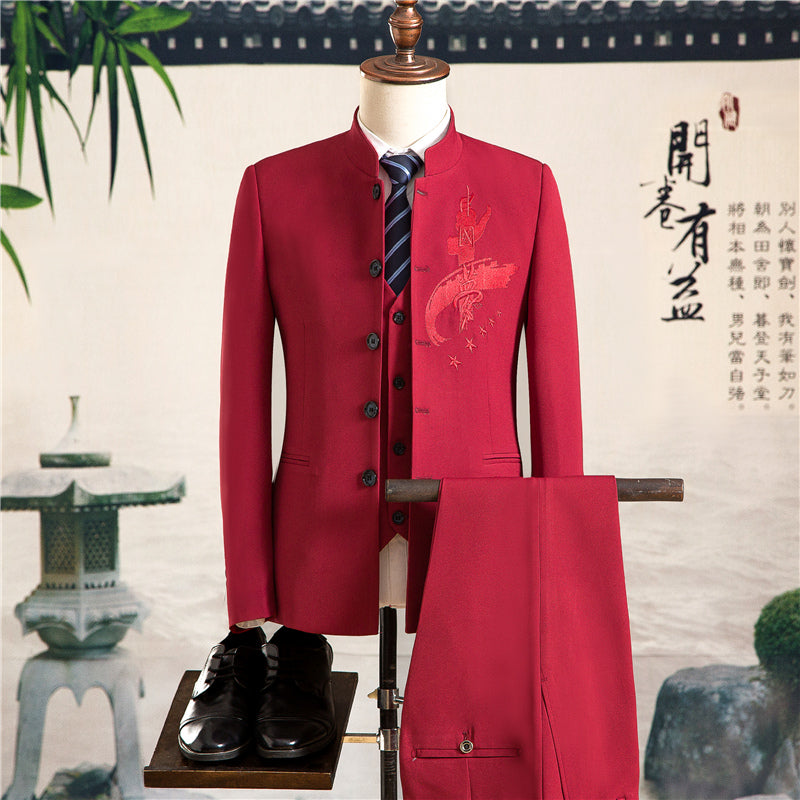 Mens Dress Suit Red Suits Wedding Men Chinese Embroidered Style qgTffY 04a4ac7a1