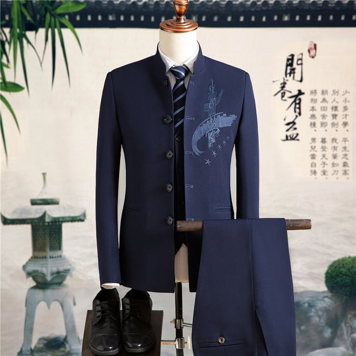 5a378d96ce28 Chinese Style Men Suits Embroidered Red Suit Mens Wedding Dress Mens (Jacket +Vest+