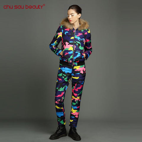 Chu Sau beauty winter clothing for women Winter Jacket 2017 New Spring Autumn  Size Floral Printed Slim Casual Parka Coat Pants