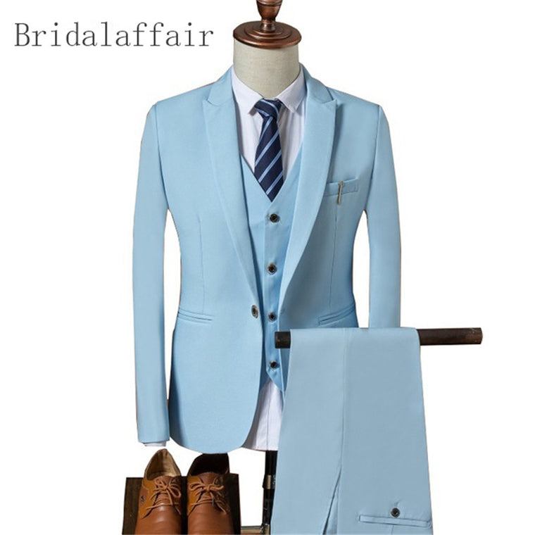 Classic Suit Men 2018 Slim Fit Prom Wedding Suits for Men Jacket Pant Vest 3 Pieces Mens Suits Sky Blue Wear Groom Tuxedo Blazer