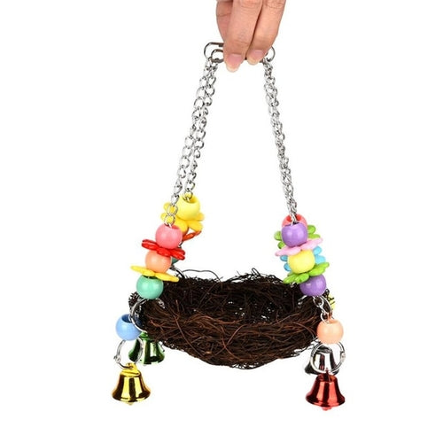 Color Jewelry Pet Parrot Bird Nest Hammock Swing