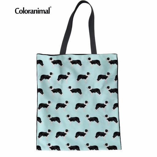 0dcc842bd Coloranimal Eco-friendly Women Shopping Bags Casual Canvas Linen Bags Cute  Dog Border Collie Pattern