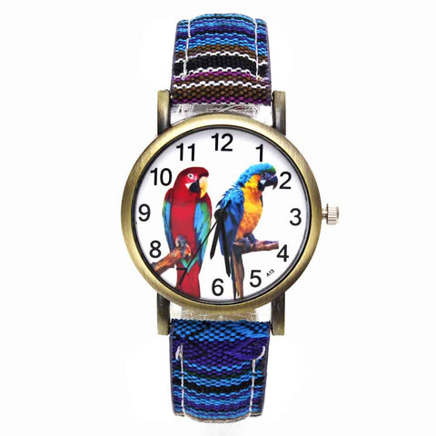 Colorful 2 Parrot Pet Bird Animal Watches Parakeet Budgie Cockatiel Macaw Men Women Watch Fashion Stripes Denim Wristwatch