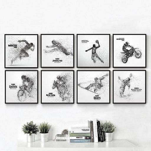 Creative Abstract Sport Poster Particle Running Equestrian Motocross ski Poster Wall Art Canvas Painting Picture for Home Decor