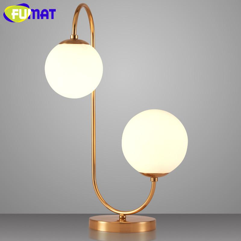 Creative Glass Globes Table Lamps Bedroom Bedside Table Light Study  Minimalist Desk Lamp Nordic White Glass Table Lamp
