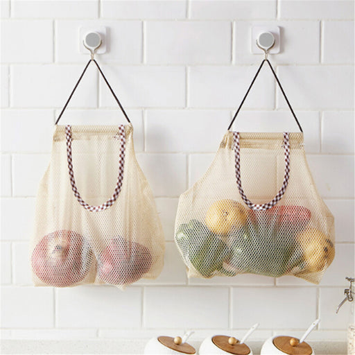 Creative Mesh shopping bag Hollow Knit Kitchen Breathable Storage Bag Vegetable Onion Potato Garlic Ginger Hanging Storage Bag